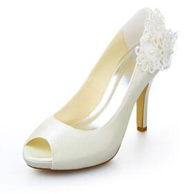 Sandali Tacchi Spillo Con Perle Raso 10 cm Tacco Alto Scarpe Sposa Avorio Spuntate
