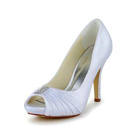 Plisado Tacon Alto Elegantes Zapatos Tacones Blancos Stiletto Peeptoes Clasico