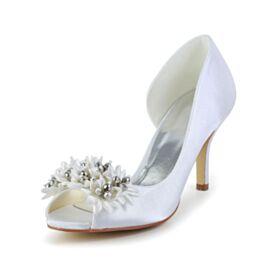Peep Toe Witte Bruidsschoenen Stiletto High Heels Pumps Satijnen Ronde Neus Kralen