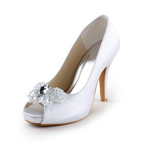 Mit Kristall Weiß Brautjungfer Schuhe 10 cm High Heel Mit Fransen Brautschuhe Peeptoes Sandaletten Damen Satin Elegante Stilettos Perlen