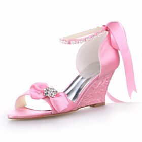Satin 7 cm Heel Wedges Light Pink Sandals With Ankle Strap Bridals Wedding Shoes Round Toe Elegant