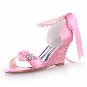 Scarpe Da Sposa Con Fiocco Eleganti 7 cm Tacco Medio Lacci Caviglia Estivi Rosa Zeppa Sandali