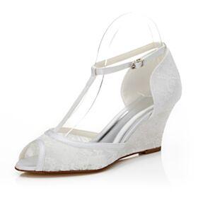 Chaussure Mariage Blanche Dentelle Satin Élégant Sandale Avec Bride Cheville Peep Toes Chaussure Demoiselle D honneur Compensées 7 cm Talon Mid