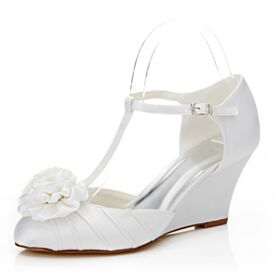 Satin Wedges 7 cm Mid Heel Pumps Shoes Elegant Pleated With Ankle Strap Wedding Shoes Round Toe