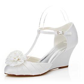 Tacon Medio Cuña Zapatos Mujer Elegantes Crema Zapatos De Novia De Correa De Tobillo Plisado