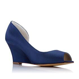 Peep Toe 7 cm Mid Heels Blue Wedding Shoes Round Toe Elegant Bridesmaid Shoes Womens Sandals Wedges