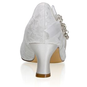 Bridesmaid Shoes Ivory Mid Heels With Rhinestones Satin Charming Wedding Shoes Tulle Fringe Pumps