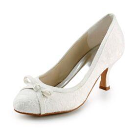 Bridesmaid Shoes 7 cm Heeled Elegant Round Toe Stiletto Pumps Dress Shoes Tulle Wedding Shoes