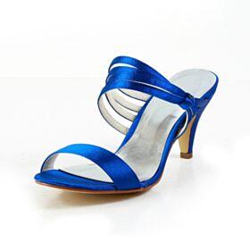 Élégant Satin Sandales Femme À Bride Chaussure De Mariée Bleu Roi 7 cm Talon Mid