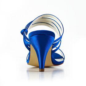 Blu Elettrico Scarpe Sposa Sandali Con Tacco Medio Raso Eleganti Tacchi Spillo