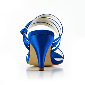 Zapatos De Novia Stiletto Sandalias Elegantes Tacon De 7 cm Zapatos Dama De Honor Azul Rey Satin