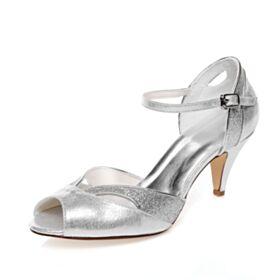 Sandales Femme Luxe Bride Cheville Paillette 7 cm Talon Mid Argenté Paillette Peep Toes