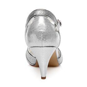 Luxus Satin Mit Mittel Heel Sandaletten Damen Pailletten Runde Zeh Silber Glitzernden Cut Out Knöchelriemen Brautschuhe