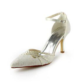 Élégant Talon Aiguille 8 cm Talon Haut Bout Pointu Cloutés Escarpins Satin Avec Bride Cheville Ivoire Tulle Chaussure De Mariée