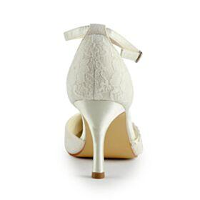 Avorio Tacco A Spillo Scarpe Sposa Con Tacco Alto Decolte A Punta Cinturino Alla Caviglia Scarpe Damigella