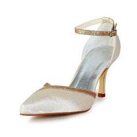 Knöchelriemen Champagner Stilettos Spitz Zeh Glitzernden Glitzer Schönes Mit 8 cm High Heel Brautschuhe Sandaletten Damen