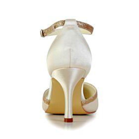 Avec Bride Cheville Talon Haut Chaussure Mariage Bout Pointu Chaussure Demoiselle D honneur Paillette Élégant Glitter Sandales Femme Or Champagne Talons Aiguilles Satin