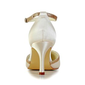 Tacones Altos 8 cm De Punta Fina Primavera Elegantes Con Purpurina Color Champagne De Saten Sandalias
