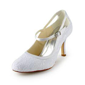 Weiß Stilettos Tüll Runde Zeh Elegante Satin Brautschuhe Knöchelriemen Pumps High Heel