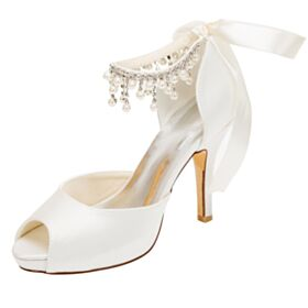 Ronde Neus Franjes High Heels Stiletto Ivory Enkelband Peep Toe Trouwschoenen Elegante Satijnen Sandalen