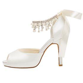 Peeptoes Sandalias Blancos Tacon Alto 10 cm Stilettos Zapatos De Novia