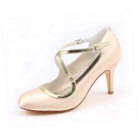 Bridesmaid Shoes Bridals Wedding Shoes Stilettos Pumps Dress Shoes Elegant 3 inch High Heel Round Toe