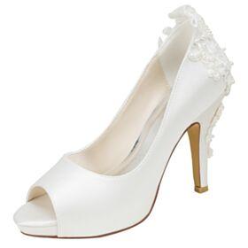 Satin Creme Peeptoes Brautschuhe Elegante Brautjungfer Schuhe Applikationen Stilettos Mit 10 cm Absatz Runde Zeh