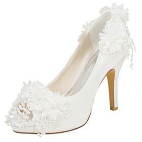 Mit Perle Stilettos Brautschuhe Elegante Mit 10 cm High Heels Peeptoes Creme Brautjungfer Schuhe