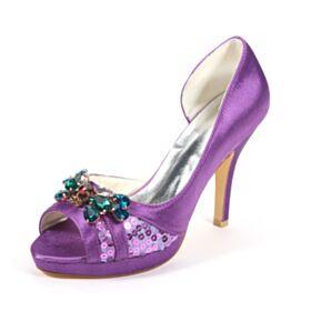 Viola Gioiello 10 cm Tacco Alto Raso A Punta Tacchi A Spillo Eleganti Sandali