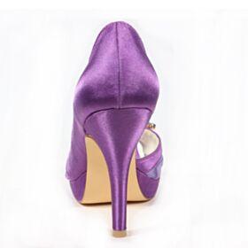Chaussure Mariage Talon Aiguille Satin Bout Pointu Élégant Violet 10 cm Talon Haut Bout Ouvert Sandales