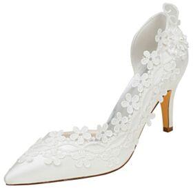 Pumps Stilettos Brautschuhe Mit 8 cm High Heel Elegante Spitz Zeh Ivory D orsay Applikationen
