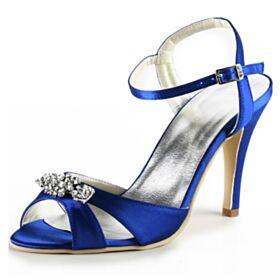 Mit Strasssteine Knöchelriemen Satin 8 cm High Heel Brautschuhe Riemchen Runde Zeh Stilettos Königsblau Sandaletten Damen