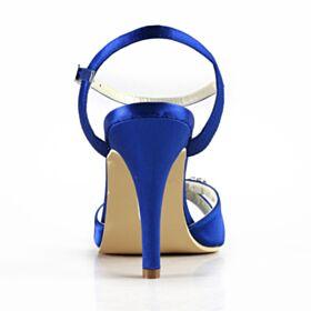 High Heels Elegante Sandalen Met Steentjes Satijnen Stiletto Kobaltblauwe Bruidsschoenen