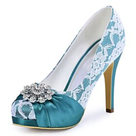 Stiletto Round Toe Sky Blue Wedding Shoes Bridesmaid Shoes Lace High Heel Pleated Charming Pumps Shoes