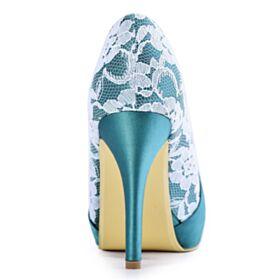 Chaussure Demoiselle D honneur Avec Strass Talon Aiguille Escarpins Femmes Plissée Dentelle Élégant Bleu Ciel Chaussure Mariage