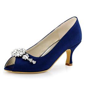 Tacco A Spillo Scarpe Da Sposa Punta Tonda Con Strass Gioiello 7 cm Tacco Medio Sandali Blu Notte