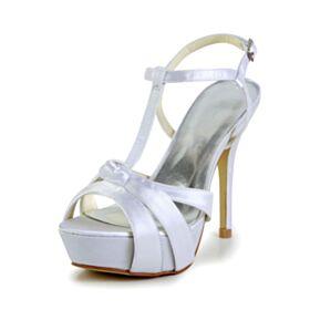 Stiletto Sandalias Tacon Alto De Satin Blancos Zapatos De Novia De Tiras Peeptoes Elegantes Plataforma