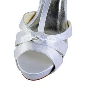 10 cm Hoge Hakken Witte Elegante Bruidsschoenen Plateau Satijnen Sandalen Dames Peep Toe Stiletto
