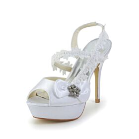 4 inch High Heeled Wedding Shoes White Open Toe Bow Ankle Strap Strappy Lace Platform Womens Sandals Satin