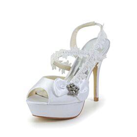 Belle Bride Cheville Talons Aiguilles Peep Toes Sandale Blanche D été Dentelle Talons Hauts Noeud Plateforme