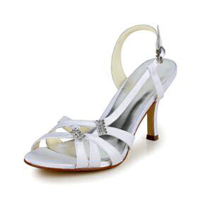 Sandalen Peeptoes Römers Stilettos Hochzeitsschuhe Schönes Weiß Riemchen