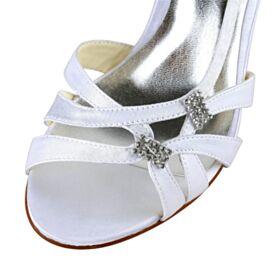 Witte Sandalen Met Steentjes Bruidsschoenen Stiletto Gladiator Elegante Hoge Hakken Satijnen Peep Toe