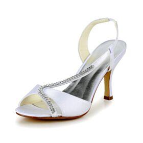 Sandale Blanche Bout Ouvert Chaussure De Mariée Talons Aiguilles Talon Haut
