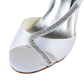 Sandals Stiletto High Heel With Rhinestones White Bridal Shoes Open Toe