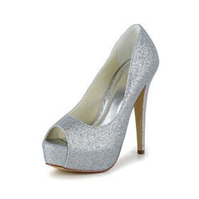 厚底 グリッター 高い ヒール 2020 結婚式 靴 シルバー パンプス オープン トゥ キラキラ 二次会 靴 ピンヒール 2820150723