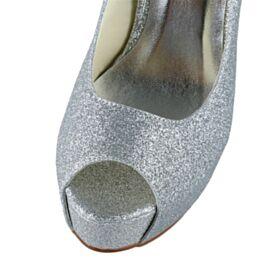 Brillantes Tacon Alto De Plataforma Color Plata Zapatos Mujer Fiesta Zapatos Con Tacon