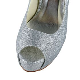 Platform Silver Stiletto Pumps Dress Shoes 5 inch High Heeled Sparkly Glitter Open Toe Bridal Shoes