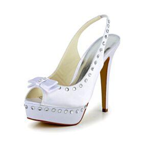 Noeud Strass Escarpins Femmes Talon Haut Slingback Talons Aiguilles Satin Plateforme Bout Ouvert Blanche Élégant Chaussure De Mariée