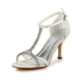 Sandalias Mujer T Correa De Satin Elegantes Zapatos De Novia Tacon Alto 8 cm Tiras Peeptoes Stilettos