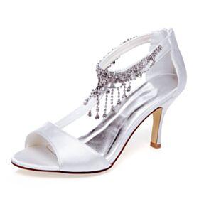 Chaussure De Mariée Blanche Satin Talons Aiguilles Avec Strass Bout Ouvert Talon Haut Sandale À Frange Élégant